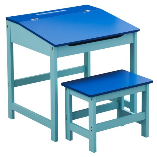 Children'S Desk And Stool Blue Sturdy MDF Suitable For Kids Room