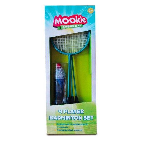 Mookie 4 Player Badminton Set Playset Family Children Garden Games