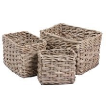 Triple Weave Set of 3 Rectangular Wicker Storage Baskets in Kooboo Grey