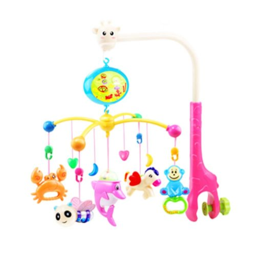341 Contents in Chinese Rechargeable Battery Musical Soothe Dreams Mobile,Animal Pink
