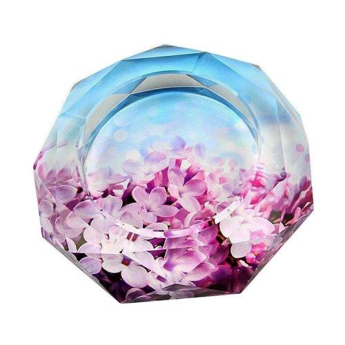[Flower-5] Rhombus Shape Crystal Cigarette Ashtray Ash Tray Tabletop Decoration
