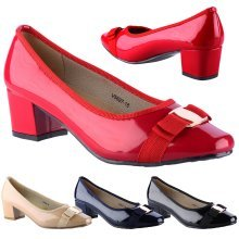 Cherie Womens Mid Heel Bow Detail Slip On Court Shoes