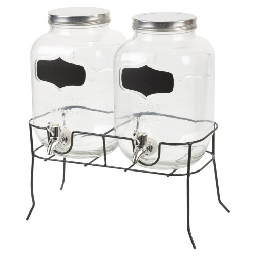 4L Twin Glass Drink Dispenser | Double Glass Drink Dispenser With Stand