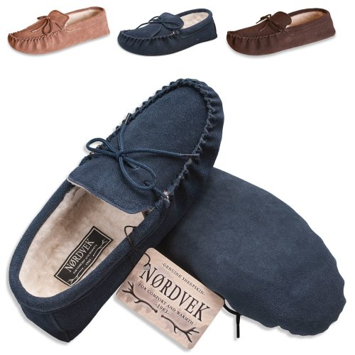 9e93283c0c3 Nordvek Mens Sheepskin Moccasin - Soft Suede Sole Wool Lined Slippers    423-100 on OnBuy
