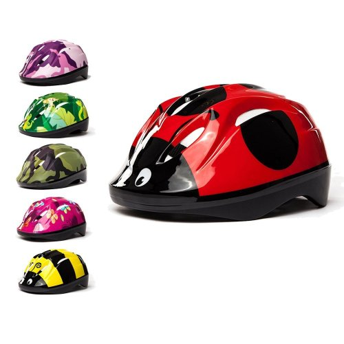 3Style Scooters® - Kids Cycle Helmet in Ladybird Design - For Cycling, Skating, Scooting - Adjustable Headband For Head Sizes 49cm 50cm & 51cm -...