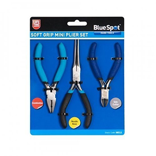 Blue Spot 08512 Combination Mini Plier Set Needle With Side Cut - Blue (3-piece) -  set mini combination nose pliers 3 needle side soft grip piece