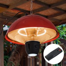 Outsunny Hanging Patio Heater, 1500W, Aluminium-Red