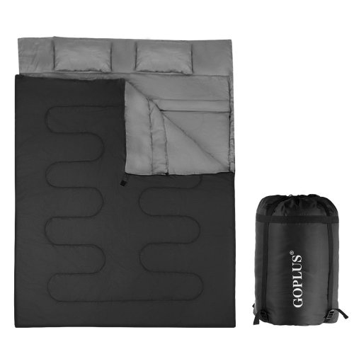 Double Sleeping Bag 2 Person Waterproof w/ 2 Pillows