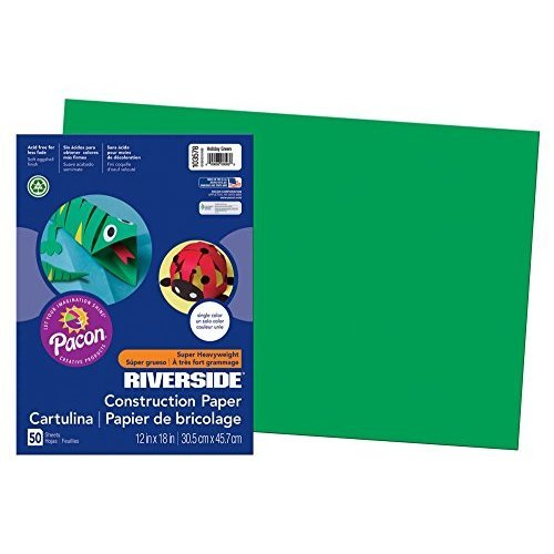 Pacon Riverside Construction Paper 12 Inches by 18 Inches 50 Count Holiday Green 103578