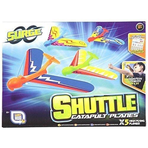 Set of 5 Surge Shuttle Catapult Planes Childrens High Flying Slingshot Gliders