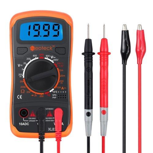 Multimeter Neoteck Pocket Digital Multimeters Multi Tester Voltmeter Ammeter Ohmmeter AC/DC Voltage DC Current Resistance Diodes Transistor Audible...