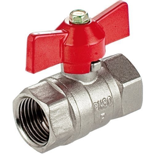 "1"" Water Valve Female to Female Red Handle"