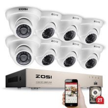 ZOSI 1080P Home Security CCTV Camera Sytems 8CH 1080P CCTV DVR Recorde w/ 8x 2.1MP(1920x1080P) Security Dome Cameras 2TB Hard Drive
