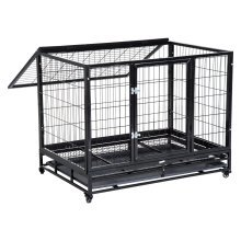 PawHut Heavy Duty Metal Kennel Pet Cage with Wheels