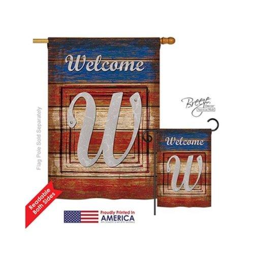 Breeze Decor 30127 Patriotic W Monogram 2-Sided Vertical Impression House Flag - 28 x 40 in.