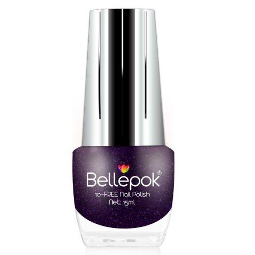Bellepok 10-FREE Nail Polish - Purple Gem | Non-Toxic Purple Glitter Nail Varnish