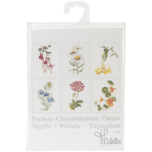 """Floral Studies 4 On Aida Counted Cross Stitch Kit-6.75""""X8"""" 18 Count Set Of 6"""