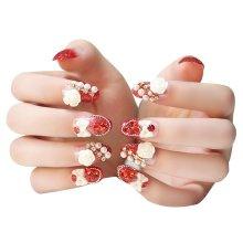 2 Boxes(48 Pieces) 3D Design False Nails/Wedding False Nails Sets, Red