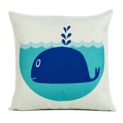 Cartoon Pattern Cotton Linen Decorative Throw Pillow, Dolphin White
