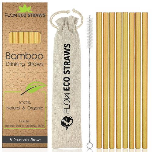 8pk FLOW Barware Reusable Bamboo Drinking Straws | Bamboo Straws