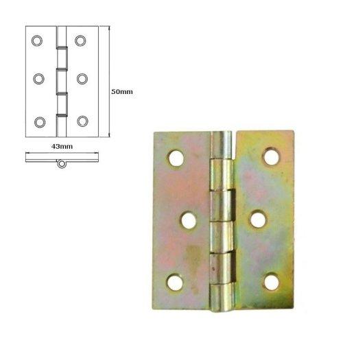10 Pcs Folding Closet Cabinet Door Butt Hinge Brass Plated 50x43mm