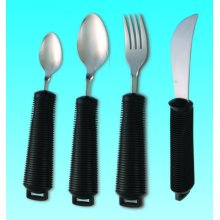 EASY GRIP BENDABLE CUTLERY - Set of large handled cutlery, Knife, Fork, Tablespoon and Teaspoon