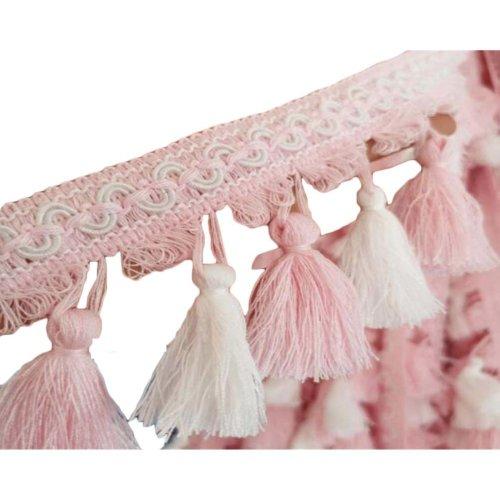 Pink Tassel Home Curtain Lace Accessories Length: 3.28 Feet Width:0.26 Feet