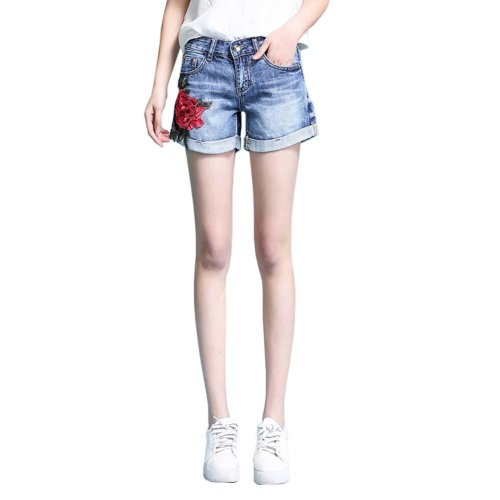 High-quality Jeans Shorts Exquisite Embroidery High Waist Shorts, A