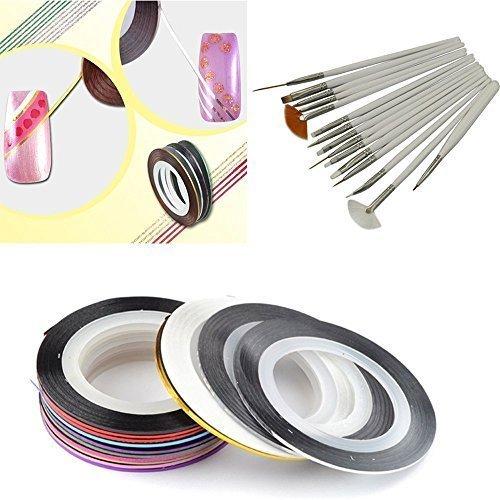 JOVANA 18 PCS Nail Tape Stripe Decoration Sticker Hologram  15pcs Painting Brushes Pen Set