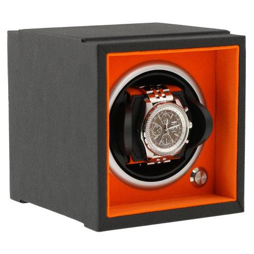 Watch Winder Larger Wrist Sizes Soft Touch  Orange Inner by Aevitas