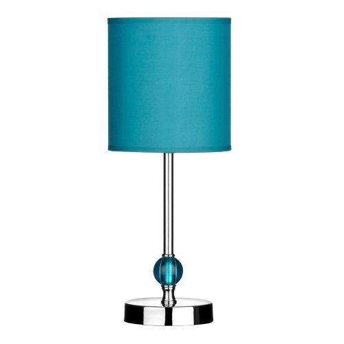 Premier Housewares Chrome Stem Table Lamp, Acrylic Ball and Fabric Shade - Teal
