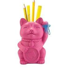 Mustard Lucky Cat Pen Pot - Pink - Holder Desk Organiser -  lucky cat pen holder desk organiser