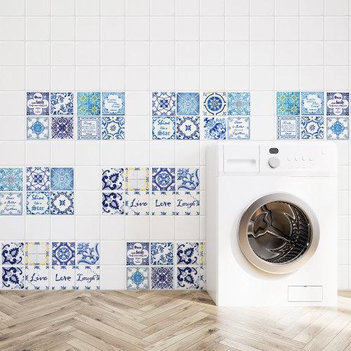 Walplus Tile Sticker English Quote Vintage Blue Wall Sticker Decal (Size: 20m x 20cm @ 12pcs)