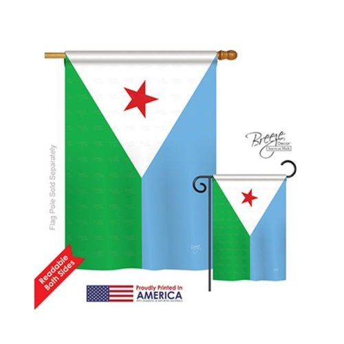 Breeze Decor 08300 Djibouti 2-Sided Vertical Impression House Flag - 28 x 40 in.