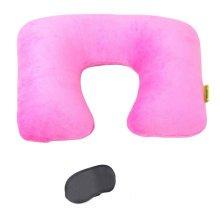 Pink Inflatable Travel Pillow Detachable Neck Pillow Travel Suit