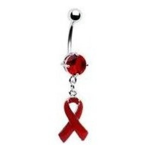 HIV Awareness Ribbon Belly Bar