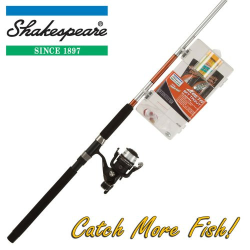 Shakespeare 8ft Trout Fishing Rod, Reel & Tackle Box Combo 'Catch More Fish'