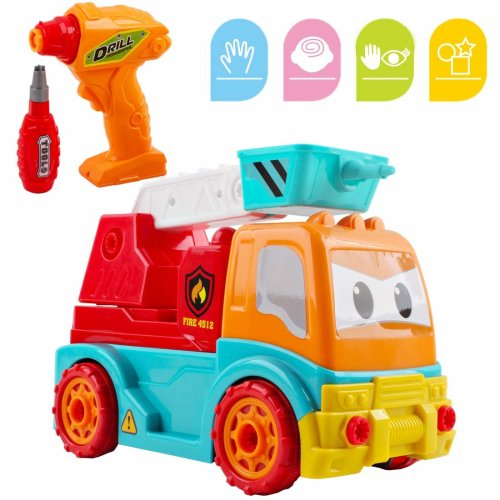 deAO Take Apart Construction RC Truck Playset 2in1 RC Vehicle with Electronic Drill Tool Building Set for Boys Girl Kids (FIRE TRUCK)