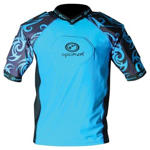 Optimum Razor Adult Rugby Body Protection Shoulder Pads Cyan/Black