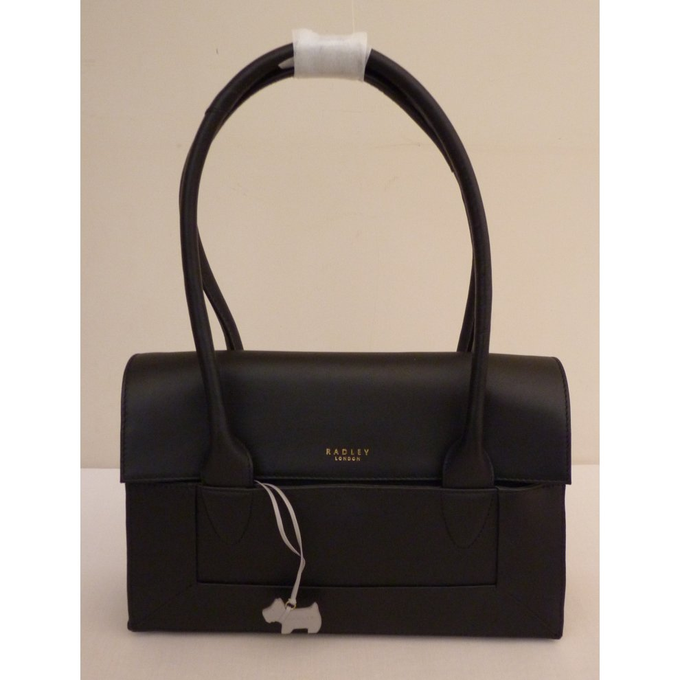 49edbf7e6f9a RADLEY  Border  Black Leather Medium Shoulder Bag on OnBuy
