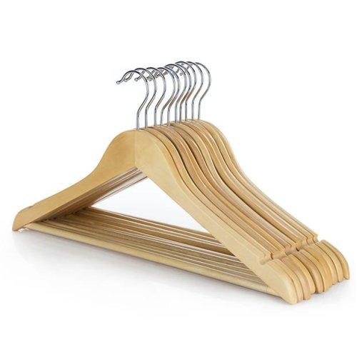 Hangerworld™ 5 Natural Wooden Clothes Hanger Non Slip Trouser Bar 45cm