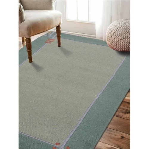 Rugsotic Carpets UST00102K0013A69 5 ft. 7 in. x 7 ft. 10 in. Hand Knotted Tibbati Wool Contemporary Area Rug - Green