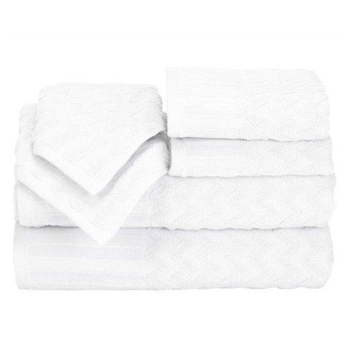 Bedford Home 67A-27636 6 Piece Cotton Deluxe Plush Bath Towel Set - White