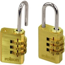 Pack Of 2 Combination Padlocks With Brass Locks - Rolson Padlock Piece Set 3 -  rolson combination padlock brass 2 piece set 3 dial chrome steel