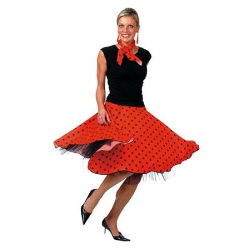 23d1b674e2f5 Rock 'n' Roll Skirt Red - rock roll skirt n fancy dress 50s ladies polka  costume red dot adult scarf on OnBuy