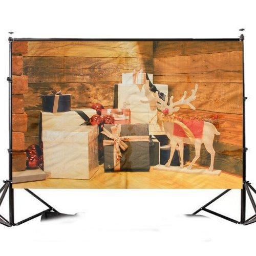 7x5ft Christmas Wooden Elk Christmas Gift Photography Backdrop Studio Prop Background