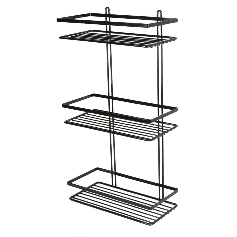 3-Tier Black Wall-Mounted Shower Caddy | Rustproof Shower Basket on ...