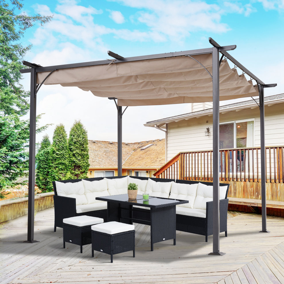 d0a3aa6e8194 ... Outsunny 3 X 3 Metal Pergola Gazebo Awning Retractable Canopy Outdoor  Garden Sun Shade Shelter Marquee ...