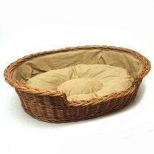 Small Willow Dog Cat Pet Wicker Basket Light Colour Cushion