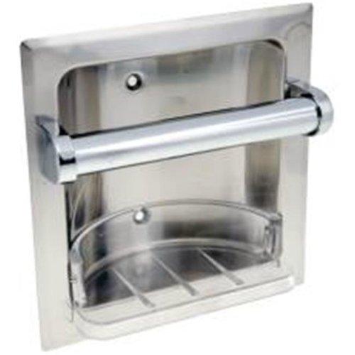 National Brand Alternative 555945 Recessed Soap Dish & Grab Bar-Chrome